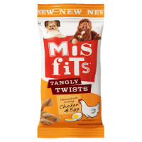 Misfits Tangly Twists Chicken & Egg Dog Treats 140g