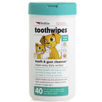 Petkin Tooth Wipes For Dogs & Cats  40 Wipes