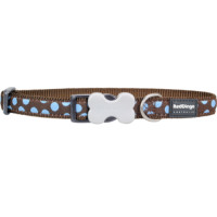 Red Dingo Dog Collar Brown & Blue Spots Small