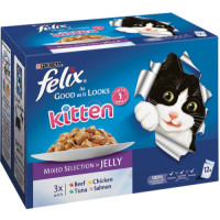 Felix As Good As It Looks Mixed Selection In Jelly Kitten Food 100g x 12