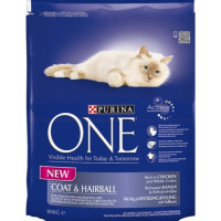 Purina ONE Chicken & Wheat Coat & Hairball Adult Cat Food 800g
