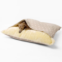 Charley Chau Luxury Snuggle Dog Bed Dotty Taupe - Medium