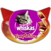 Whiskas Temptations Adult Cat Treats 60g Beef