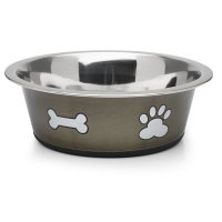 Classic Posh Paws Stainless Steel Grey Dog Bowl