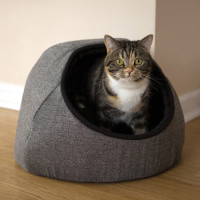 Rosewood Grey Tweed Hooded Cat Bed