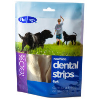 Hollings Natural White Rawhide Dental Strips 6 Pieces