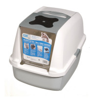 Catit Hooded Cat Litter Pan Grey