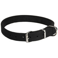 Earthbound Black Leather Dog Collar Large