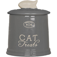 Banbury & Co Ceramic Cat Treat Storage Jar Grey