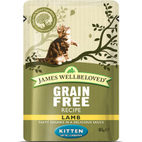 James Wellbeloved Grain Free Lamb Kitten Pouches 85g x 12