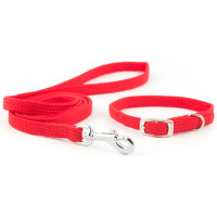 Small Bite Softweave Collar & Lead Puppy Set  Red