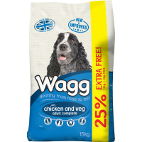 Wagg Complete Chicken & Vegetable Adult Dog Food 12kg + 3kg FREE