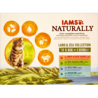 IAMS Naturally Land & Sea Collection Wet Pouch Adult Cat Food 85g x 96