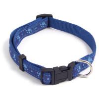 """Rosewood Wag 'n' Walk Paw Print Blue Dog Collar 14"""""""