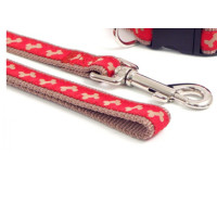 Rosewood Wag 'n' Walk Paw Print Red & Beige Dog Lead 1m