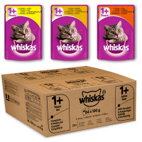 Whiskas 1+ Mixed Selection in Gravy Wet Adult Cat Food Pouch 100g x 84