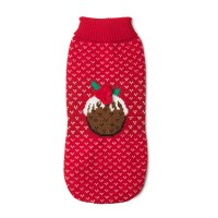 House of Paws Christmas Pudding Dog Jumper in Red 16""
