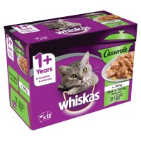 Whiskas 1+ Casserole Fish & Meaty Selection in Jelly Adult Cat Food 85g x 12