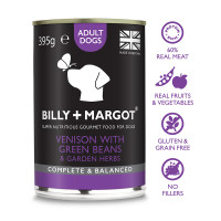 Billy & Margot Venison Complete Adult Dog Food 395g x 24