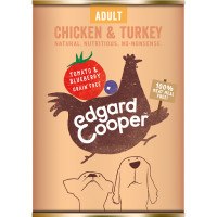EdgardCooper Chicken & Turkey with Tomato & Blueberry Wet Adult Dog Food 400g x 6