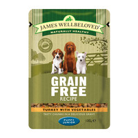 James Wellbeloved Turkey Puppy Grain Free Pouches 100g x 12