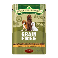 James Wellbeloved Turkey Adult Dog Grain Free Pouches 100g x 12