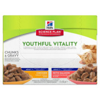 Hills Science Plan Feline Youthful Vitality 7+ Multipack Wet Pouches 85g x 12