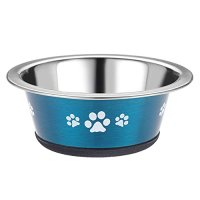 Classic Posh Paws Stainless Steel Blue Cat Dish