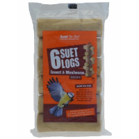 Suet To Go Insect & Mealworm Suet Logs for Wild Birds 6 Pack