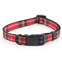 Ancol Red Tartan Nylon Dog Collar Size 5-9 Red