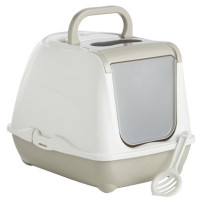 Sharples Pet Large Flip Top Hooded Cat Litter Tray Warm Grey