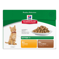 Hills Science Plan Kitten Pouches 85g x 12 - Poultry Selection