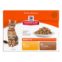 Hills Science Plan Adult Multipack Pouches Wet Cat Food  Poultry Selection 85g x 84