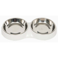 Catit Shallow Double Feeding Cat Bowl in White