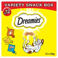 Dreamies Variety Snack Box with Chicken, Cheese & Salmon Cat Treats 60g x 12