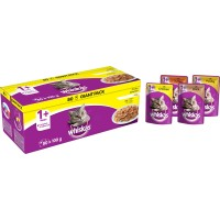 Whiskas 1+ Poultry Selection in Jelly Adult Cat Food Pouches 100g x 80