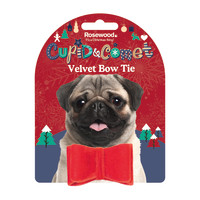 Rosewood Luxury Velvet Christmas Bow Tie for Dogs Small