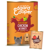 EdgardCooper Chicken & Turkey Grain Free Wet Adult Dog Food 400g x 6