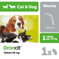 Droncit Tablets for Cats & Dogs 50mg - Single Tablet