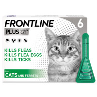 Frontline Plus Flea & Tick Spot On Cat 0.5ml x 6 Pipettes NFA-C