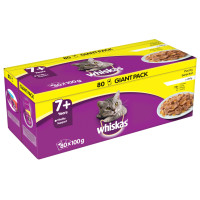 Whiskas 7+ Poultry Selection in Jelly Cat Food 100g x 80 SAVER PACK