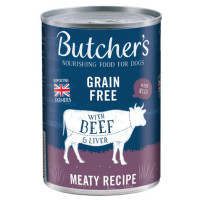 Butchers Beef & Liver Chunks Cans in Jelly Wet Dog Food 400g x 12