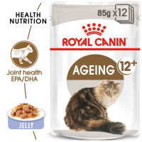 Royal Canin Ageing 12+ Adult Senior In Jelly Wet Cat Food Pouches 85g x 12