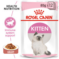 Royal Canin Kitten in Gravy Wet Cat Food Pouches 85g x 12