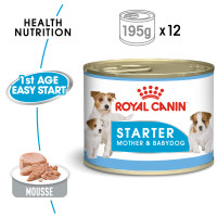 Royal Canin Starter Mousse Wet Adult and Puppy Dog Food 195g x 12