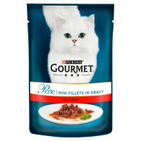 Gourmet Perle Mini Beef fillets in Gravy Cat Food 85g x 24