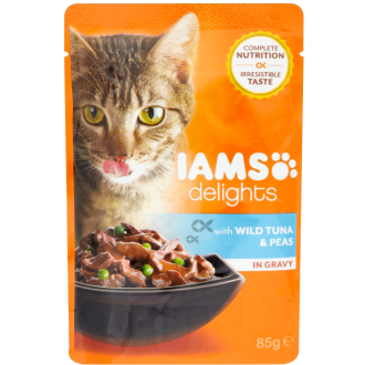 IAMS Delights Wild Red Tuna & Peas in Gravy Adult Cat Food