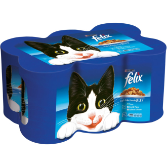 Felix Fish Selection Chunks In Jelly Tin Cat Food