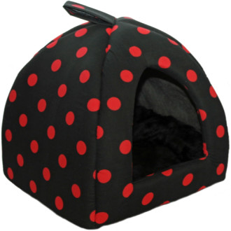 Cosipet Polka Dot Cat Igloo Black & Red