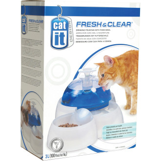 Catit Fresh & Clear Cat Water Fountain with Food Bowl